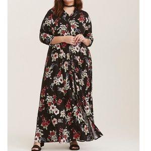 TORRID BLACK FLORAL CHALLIS MAXI SHIRT DRESS 3X